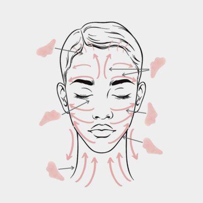 Схема за масаж на лицето с Гуа Ша