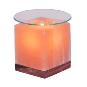 Арома лампа хималайска сол с дървена основа куб